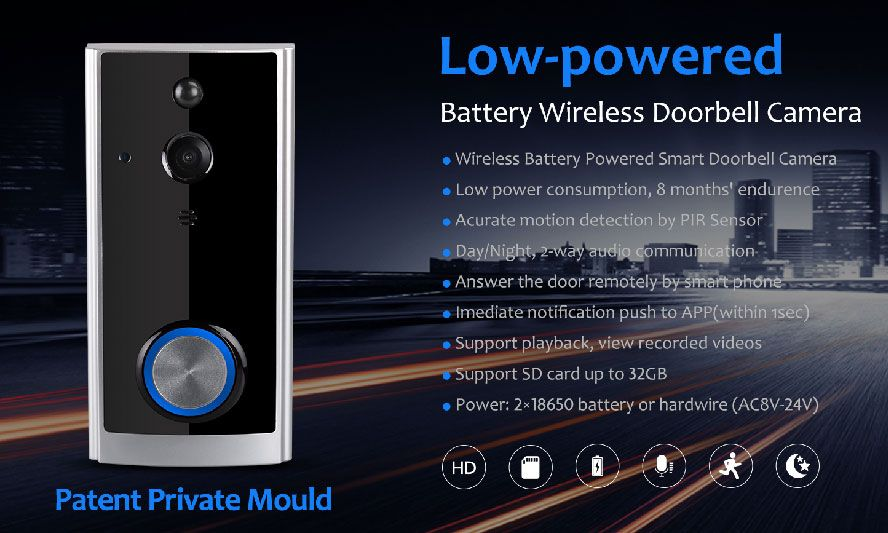 WiFi Security Video Doorbell (Battery)